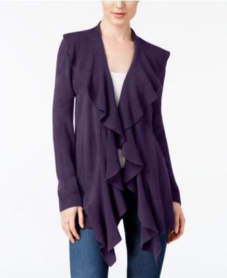 Karen Scott Ruffled Asymmetrical Cardigan, Created for Macy's