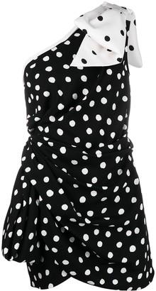 Saint Laurent One-Shoulder Bow Mini Dress