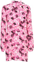 N°21 N.21 Printed Short Dress L/s W/scarf And Knot