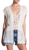 The Kooples Metallic Lace Short Sleeve Cardigan