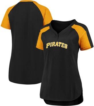 Women's Fanatics Branded Black/Gold Pittsburgh Pirates Plus Size Iconic League Diva Raglan V-Neck T-Shirt
