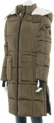 Madden-Girl Juniors' Long Puffer Jacket with Fleece-Lined Hood