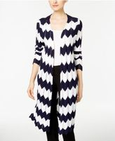 NY Collection Chevron Open-Front Duster Cardigan