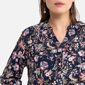Anne Weyburn Printed Grandad-Collar Blouse with 3/4 Length Sleeves