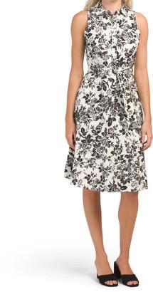 Toile Print Shirt Dress With Tie Waist