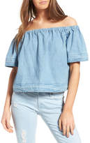 AG Jeans Sylvia Cotton Chambray Off the Shoulder Top