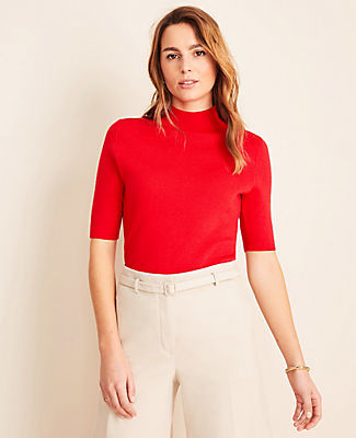 Ann Taylor Petite Mock Neck Elbow Sleeve Sweater