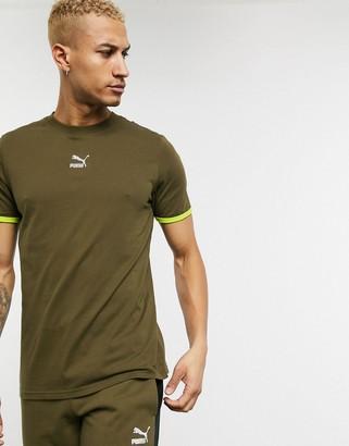 Puma TFS central logo t-shirt khaki