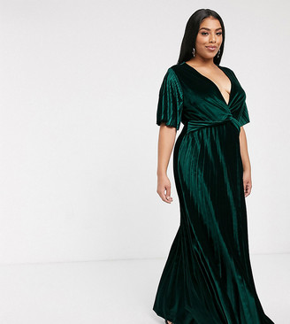 Asos DESIGN Curve twist front velvet maxi dress-Green