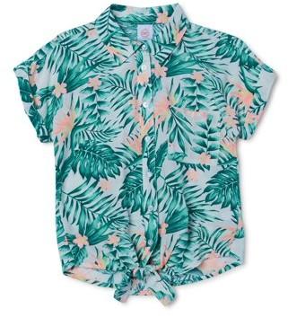 Wonder Nation Girls Tie-Front Shirt, Sizes 4-18 & Plus