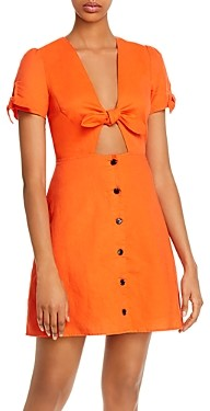 Lost + Wander Papaya Tie-Front Mini Dress