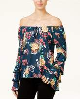 Lily Black Juniors' Printed Off-The-Shoulder Ruffle-Sleeve Top, Created for Macy's