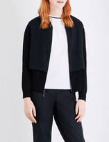St. John Panelled knitted and silk bomber jacket