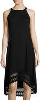 Neiman Marcus Ladder-Stitch Trim Sleeveless Jersey Dress