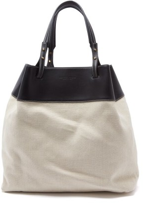 Bottega Veneta Quad Leather-trimmed Canvas Tote Bag - Womens - Cream Multi