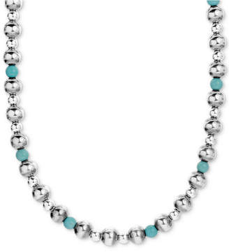 "American West Turquoise Beaded Necklace in Sterling Silver; 15"" + 2"" Extender"