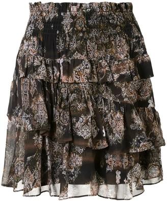 IRO Herty tiered A-line skirt