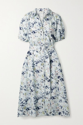 Jason Wu Belted Printed Cotton-poplin Midi Shirt Dress - Light blue
