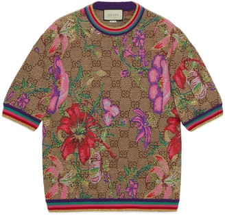 Gucci GG Flora wool jacquard top