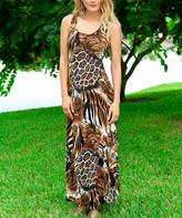 Modern Touch Women's Maxi Dresses - Brown Leopard Racerback Maxi Dress - Women