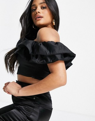 Club L London ruffle frill detail crop top in black