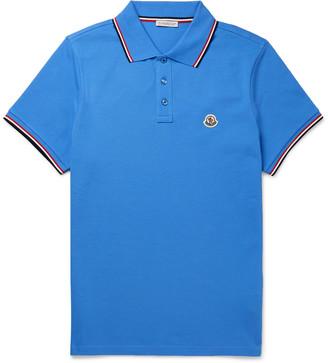 Moncler Logo-Appliqued Striped Cotton-Pique Polo Shirt