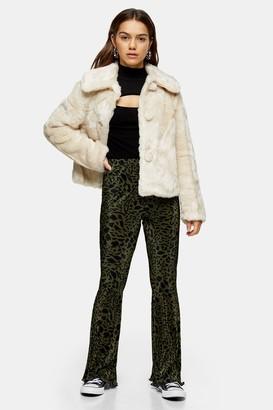 Topshop PETITE Green Leopard Plisse Pants