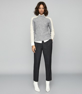 Reiss Ciara - Colour Block High Neck Jumper in Grey