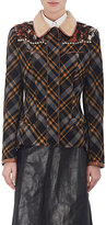 Maison Margiela Women's Embellished Plaid Flannel Jacket-NAVY