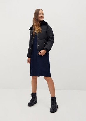 MANGO Fur collar quilted coat