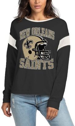 Women's Junk Food Black New Orleans Saints Big Logo Long Sleeve T-Shirt