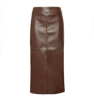 Dorothy Perkins Womens Dp Tall Brown Faux Leather Midi Skirt, Brown