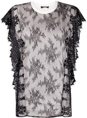 Twin-Set floral-lace cotton T-Shirt