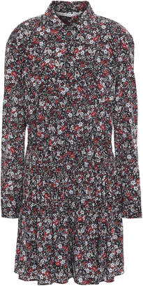 Veronica Beard Rory Floral-print Stretch-silk Crepe De Chine Mini Shirt Dress