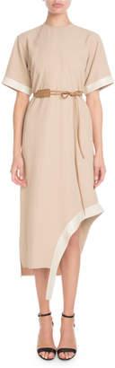 Victoria Beckham Short-Sleeve Asymmetric-Hem Shift Dress w/ Leather Belt