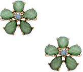 Blu Bijoux Gold And Mint Teardrop Flower Stud Earrings