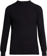 Lanvin Crew-neck diamond cable-knit cotton sweater