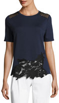 Elie Tahari Viviana Short-Sleeve Lace-Inset Knit Top, Blue/Black