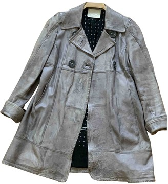 Oakwood Grey Leather Coat for Women