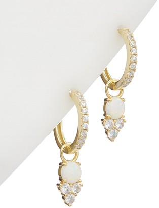 Alanna Bess Limited Collection 14K Over Silver Cz Hanging Huggie Earrings