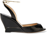 Paul Andrew Delphi metal-trimmed elaphe wedge sandals
