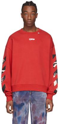 Off-White Red Caravaggio Square Arrows Slim Sweatshirt