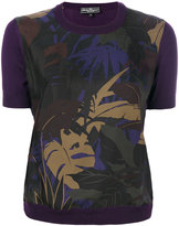 Salvatore Ferragamo Foliage print knitted top - women - Silk/Virgin Wool - XS