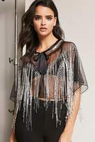 Forever 21 Sheer Mesh Beaded Cape