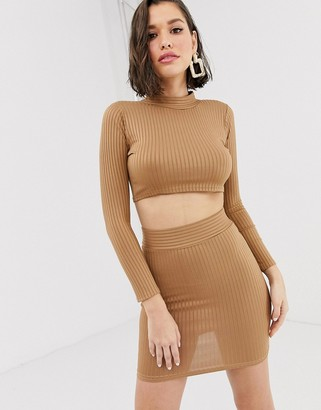 New Age Rebel high neck cropped top and mini skirt set-Tan