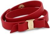 Salvatore Ferragamo Vara Bow Red Double-Wrap Leather Bracelet