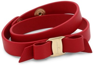 Salvatore Ferragamo Vara Bow Red Double-Wrap Leather Bracelet