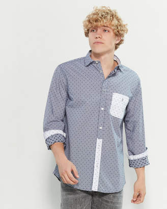 Armani Jeans Regular Fit Gingham Textured Stitch Sport Shirt