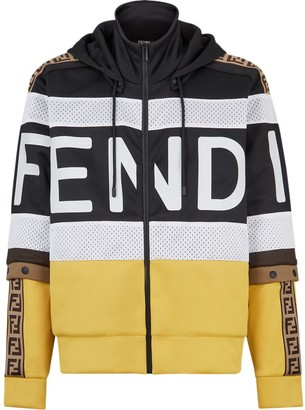 Fendi Colour-Block Zip-Up Hoodie