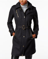 MICHAEL Michael Kors Wool-Blend Faux-Leather-Trim Trench Coat